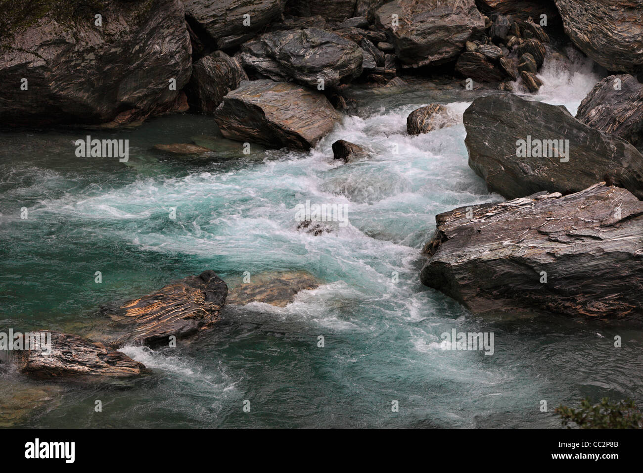 Rapids on the Makarora River near the Gates of Haast in Haast Pass, New Zealand - Stock Image