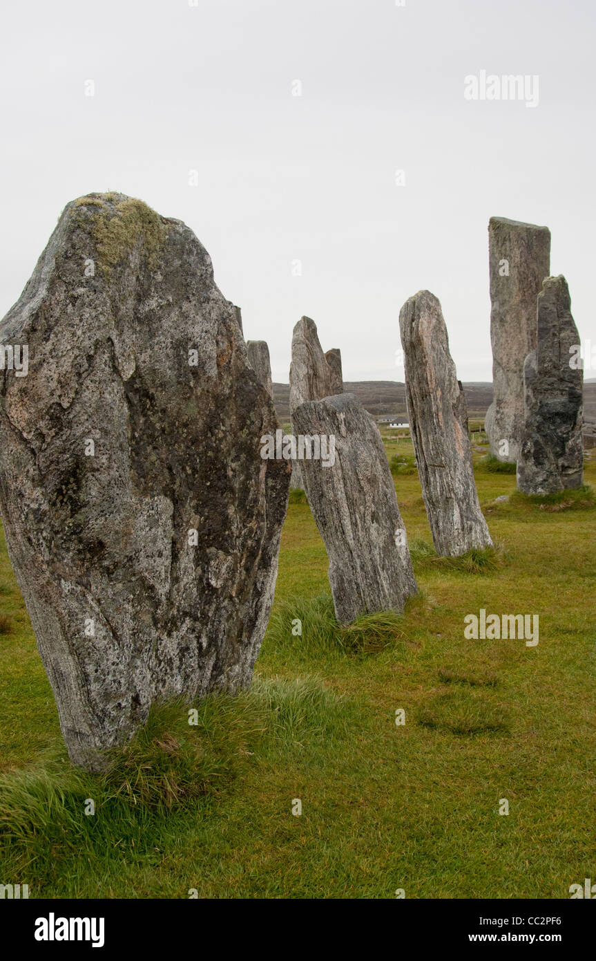 Scotland, Outer Hebrides, Isle of Lewis, Stornoway. The Callanish Stones (aka Clachan Chalanais), stone circle. - Stock Image