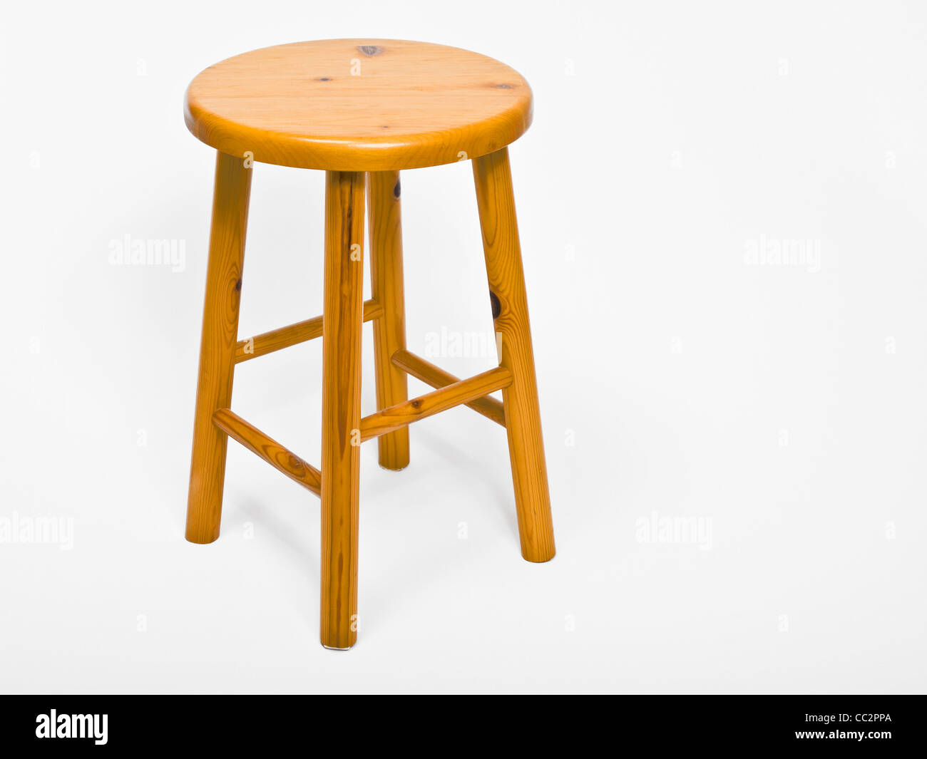 Detail photo of a wooden stool - Stock Image