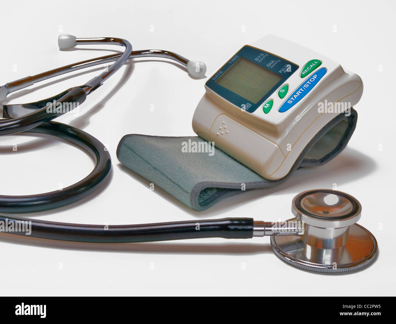 a Sphygmomanometer, beside is a Stethoscope - Stock Image
