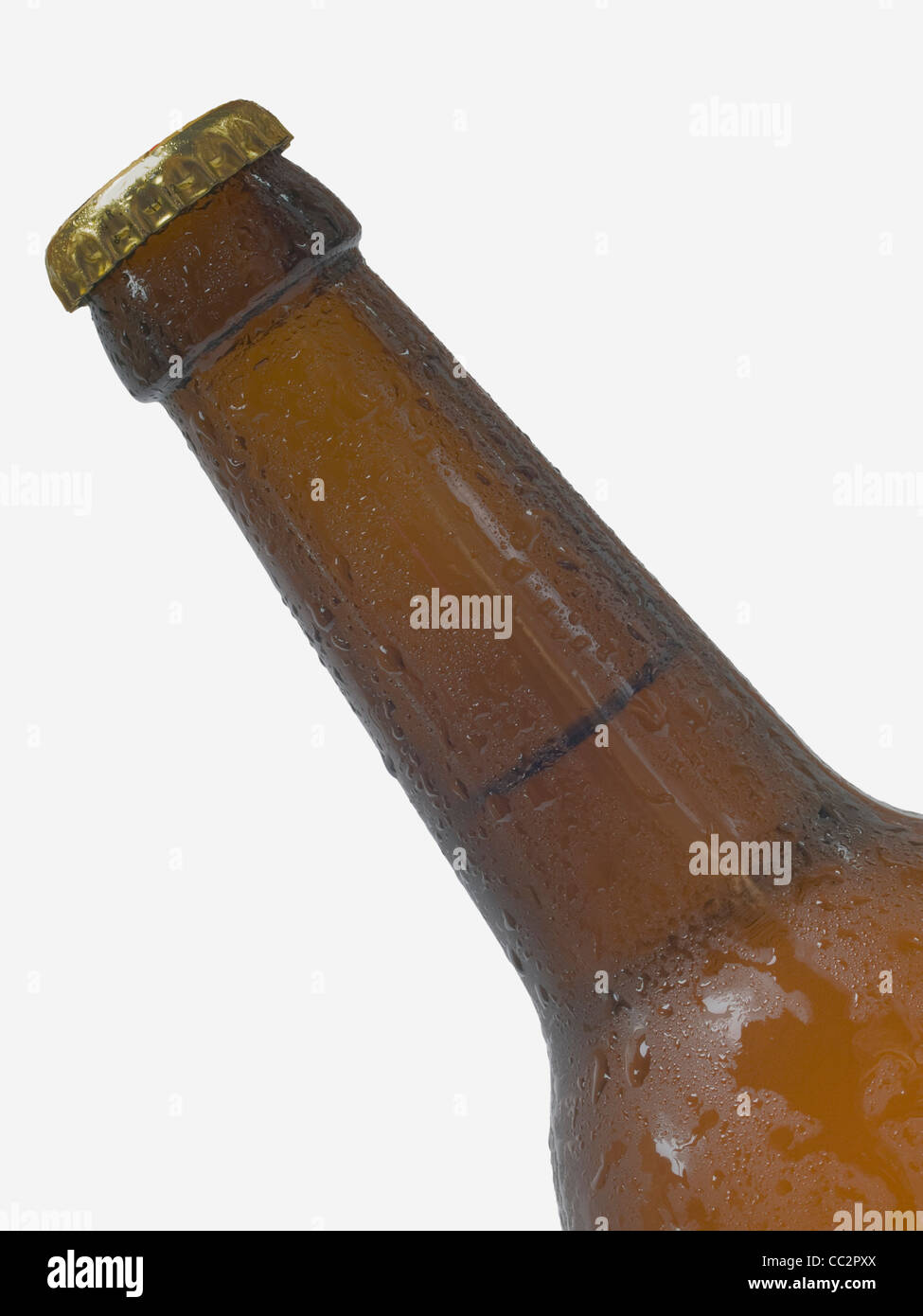 Detail photo of a beer bottle with drops of water - Stock Image