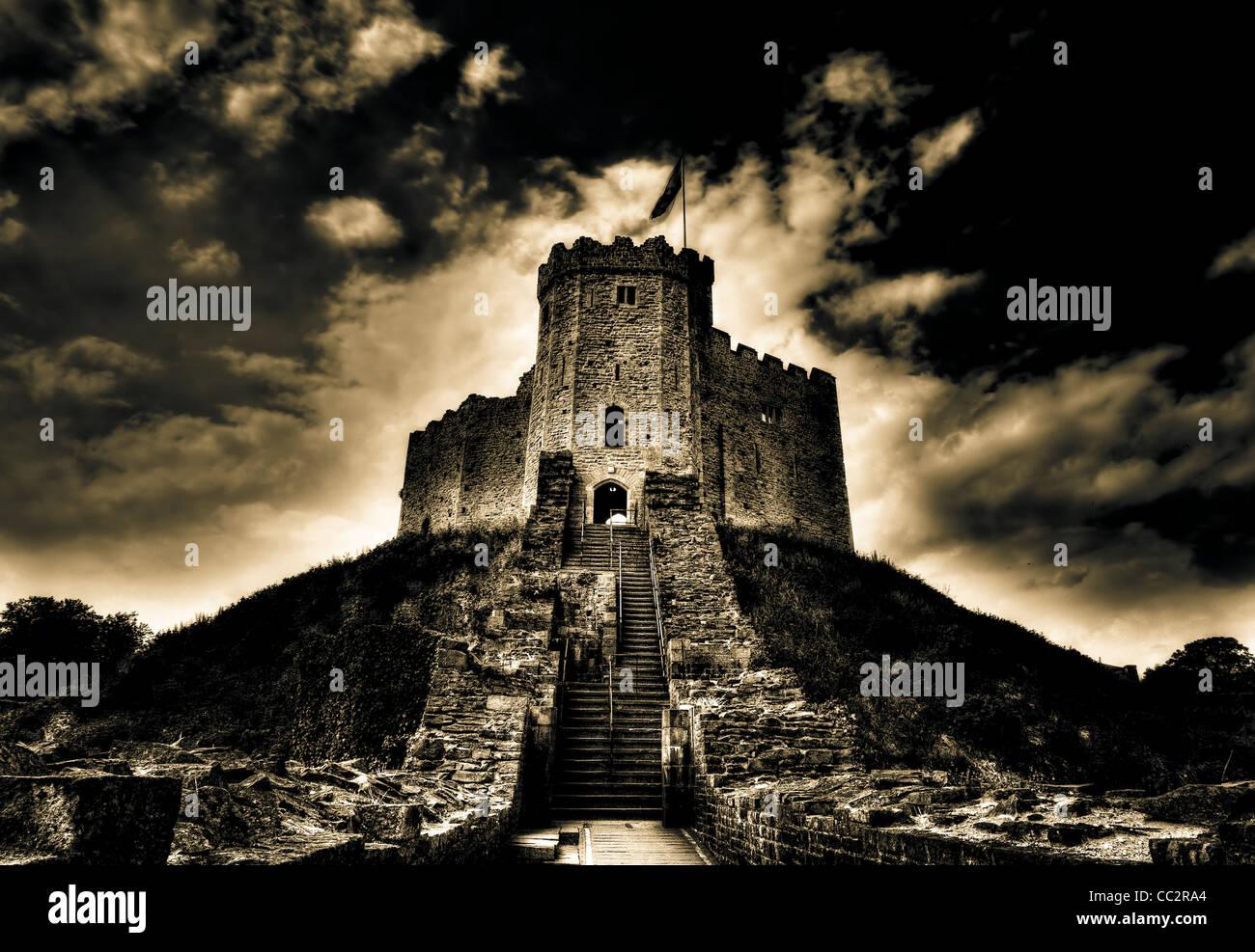 Dramatic shot of Cardiff Castle - Stock Image
