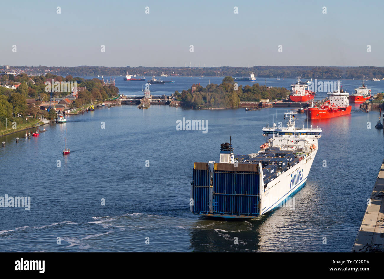 Ships at lock Holtenau, North East Canal, Kiel, Germany - Stock Image