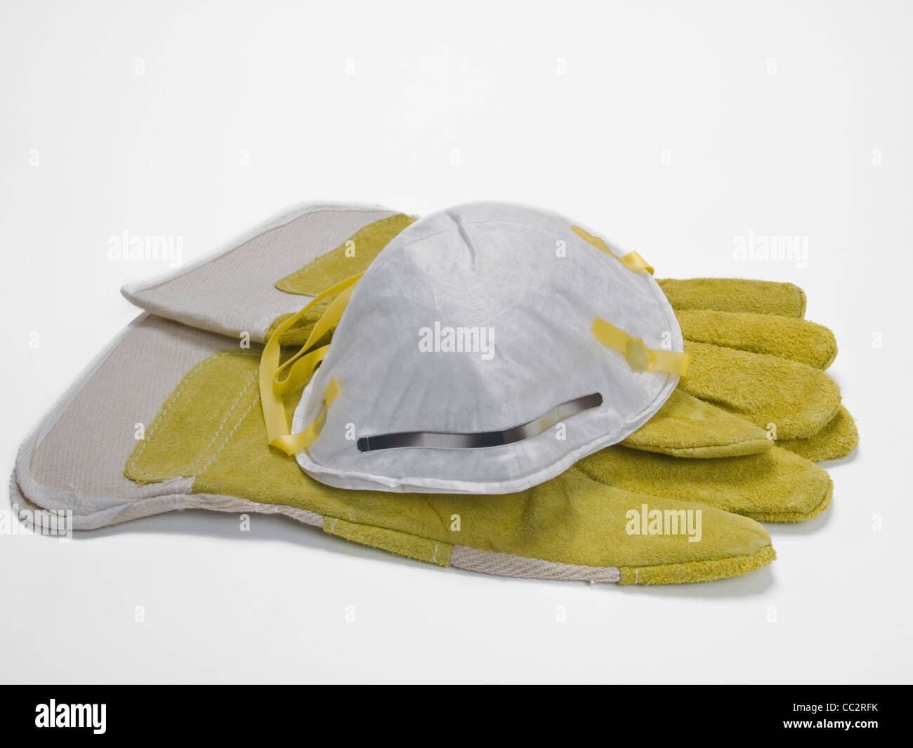 Detail photo of a respirator of one pair protective gloves - Stock Image