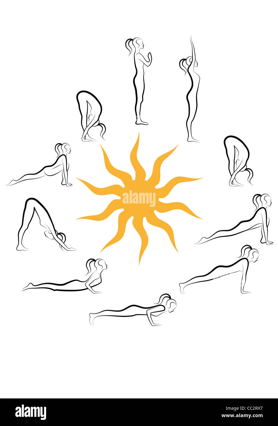 yoga sun salutation excersices - Stock Image