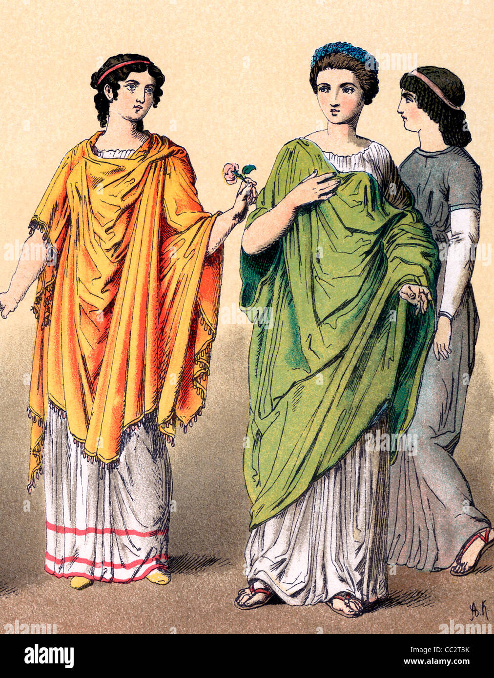 46966aab7d8 Dress of Roman women in late Republican and Imperial times (around 100 B.C.  to A.D. 100). Note the hairstyles.