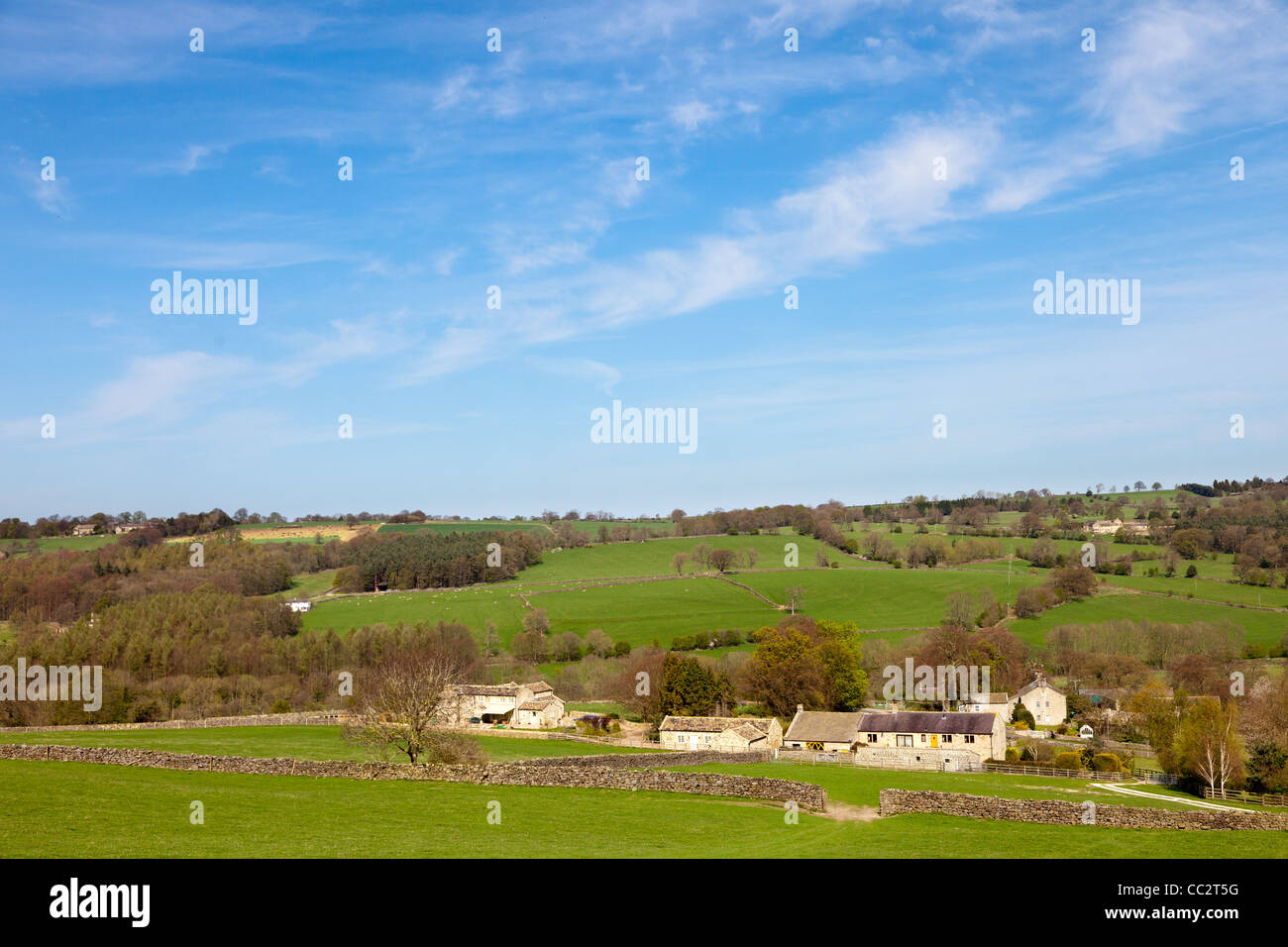 Rural landscape near Birstwith North Yorkshire England - Stock Image