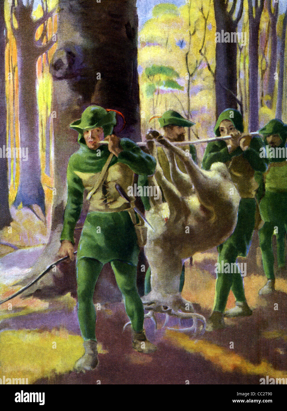 Legendary outlaw Robin Hood and his men lived in Sherwood Forest in Nottinghamshire and robbed the rich to help - Stock Image