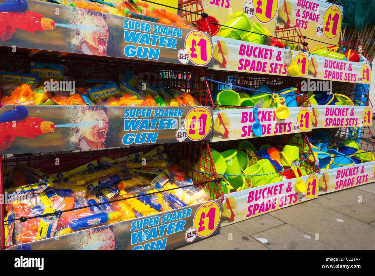 Seaside shop selling water gun and Bucket and Spade sets Scarborough England - Stock Image