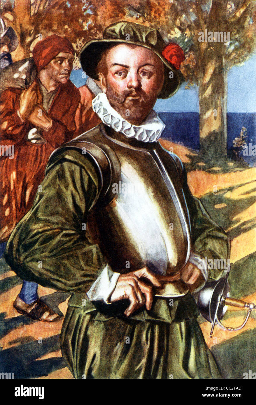 English navigator Sir Francis Drake shown while disembarking at one of the stops he made, while sailing his galleon - Stock Image