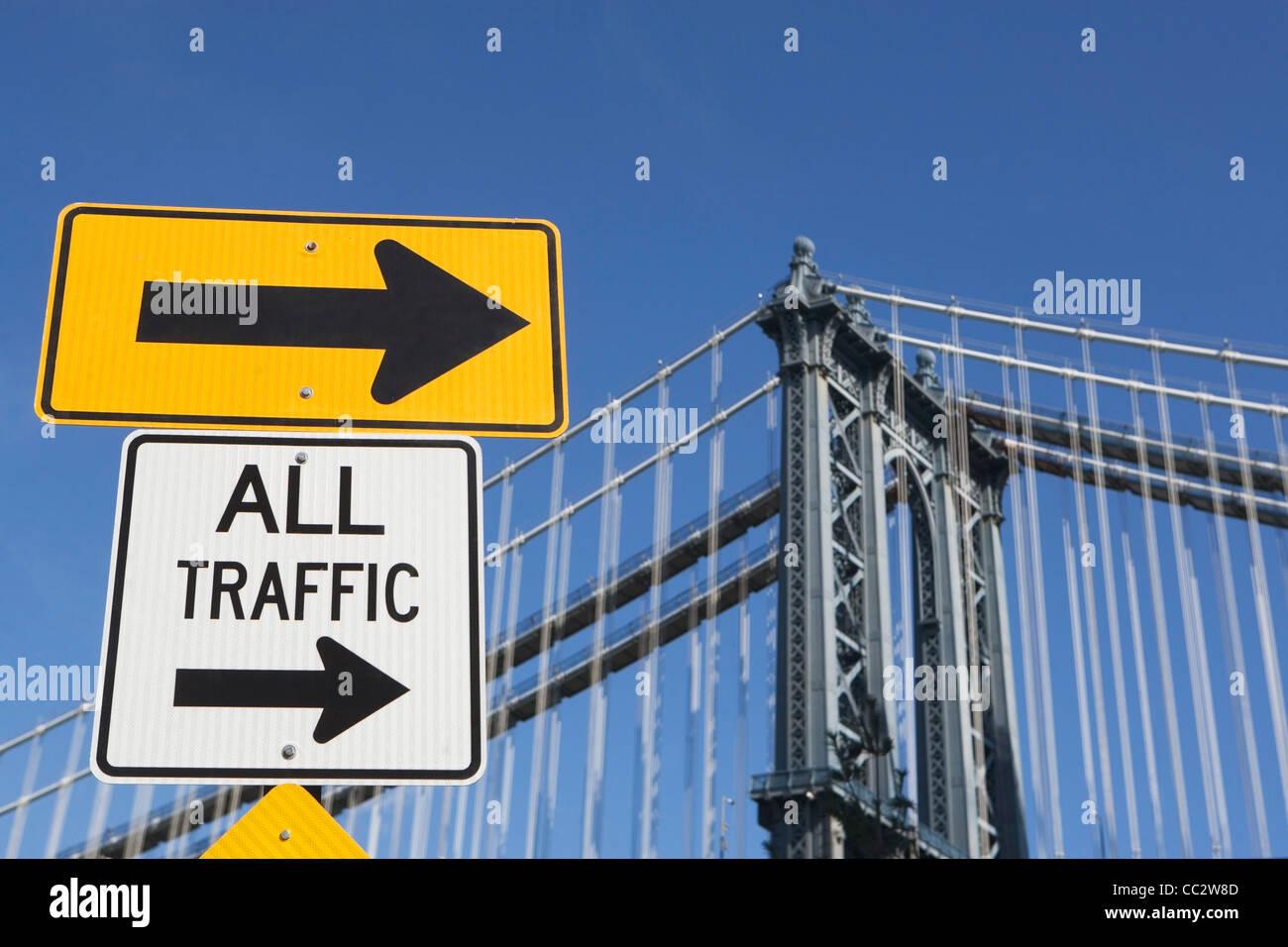 USA, New York State, New York City, Road Signs on Brooklyn Bridge - Stock Image