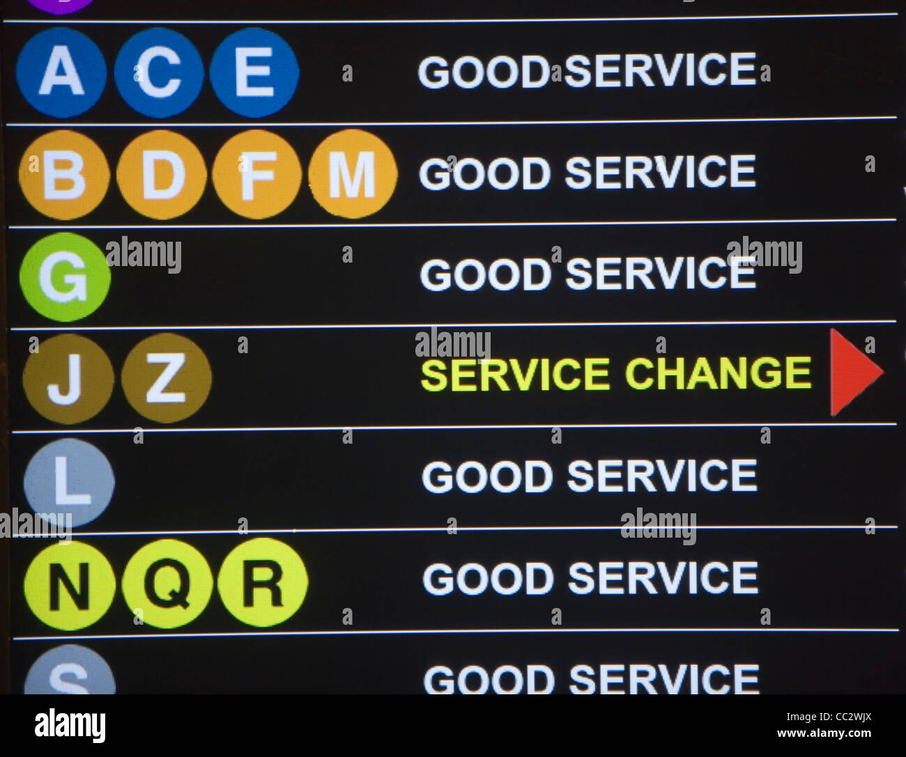 USA, New York City, Underground service information board - Stock Image