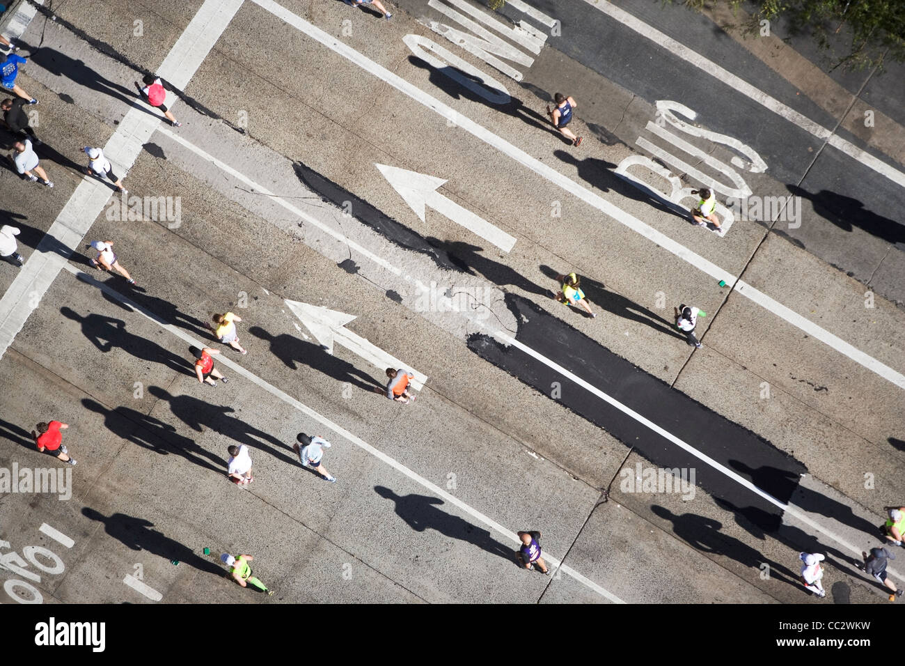 USA, New York City, New York City Marathon as seen from above - Stock Image