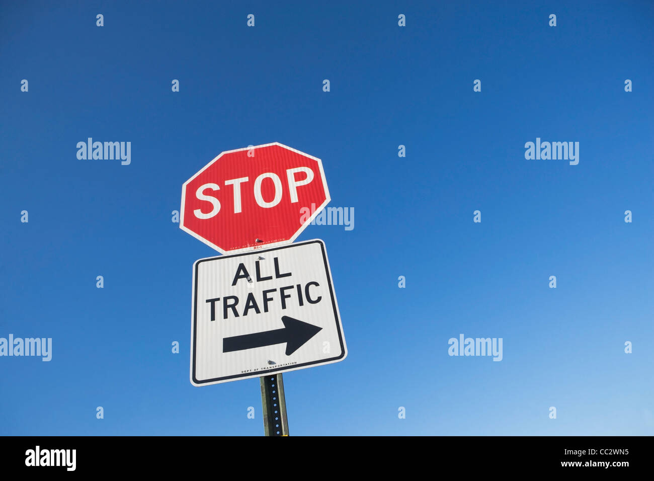 USA, New York City, Traffic diversion sign - Stock Image