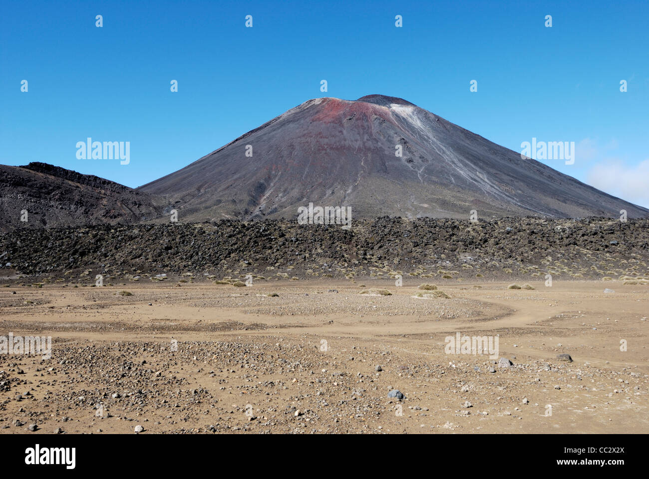 Mount Ngauruhoe viewed from South Crater. World Heritage Site, Tongariro National Park, New Zealand - Stock Image
