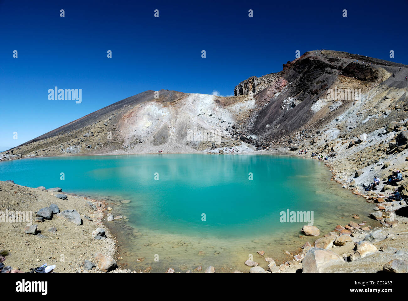 Emerald Lake, Tongariro National Park North Island, New Zealand World Heritage Site - Stock Image