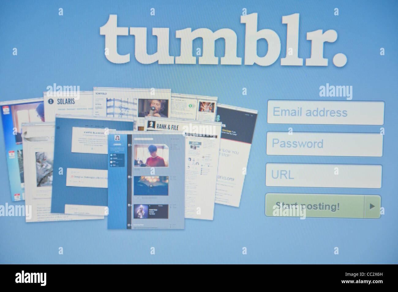 Tumblr website online screenshot screen shot - Stock Image
