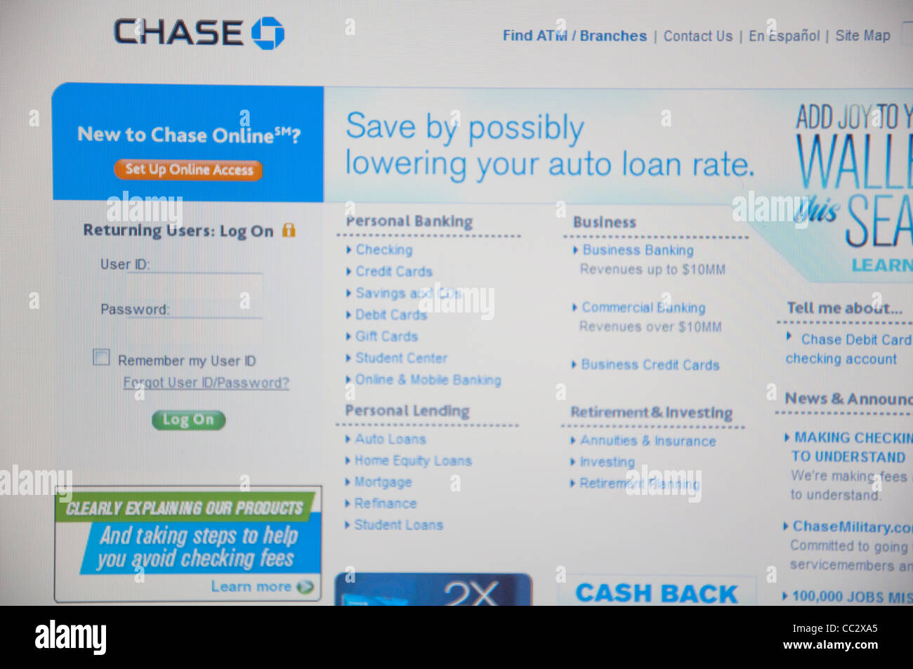 Chase website online screenshot screen shot - Stock Image