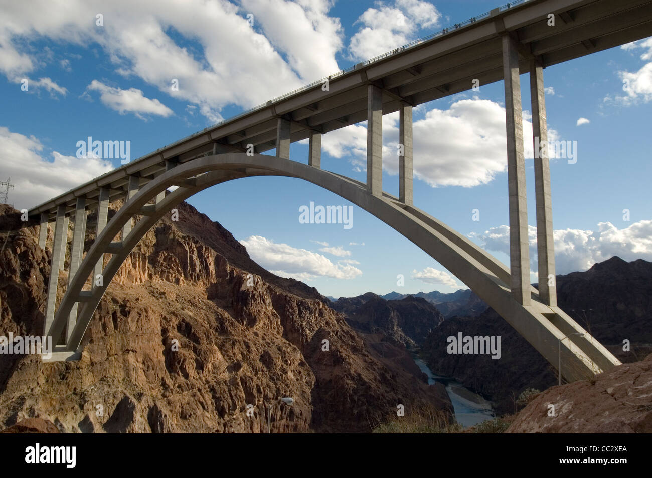 Hoover Damn bridge of Nevada USA. A fine example of bridge engineering and architecture. Taken on the 8th of November - Stock Image