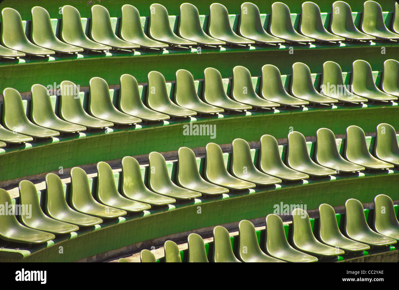 Mexico, Guerrero, Ixtapa, Rows of green seats - Stock Image