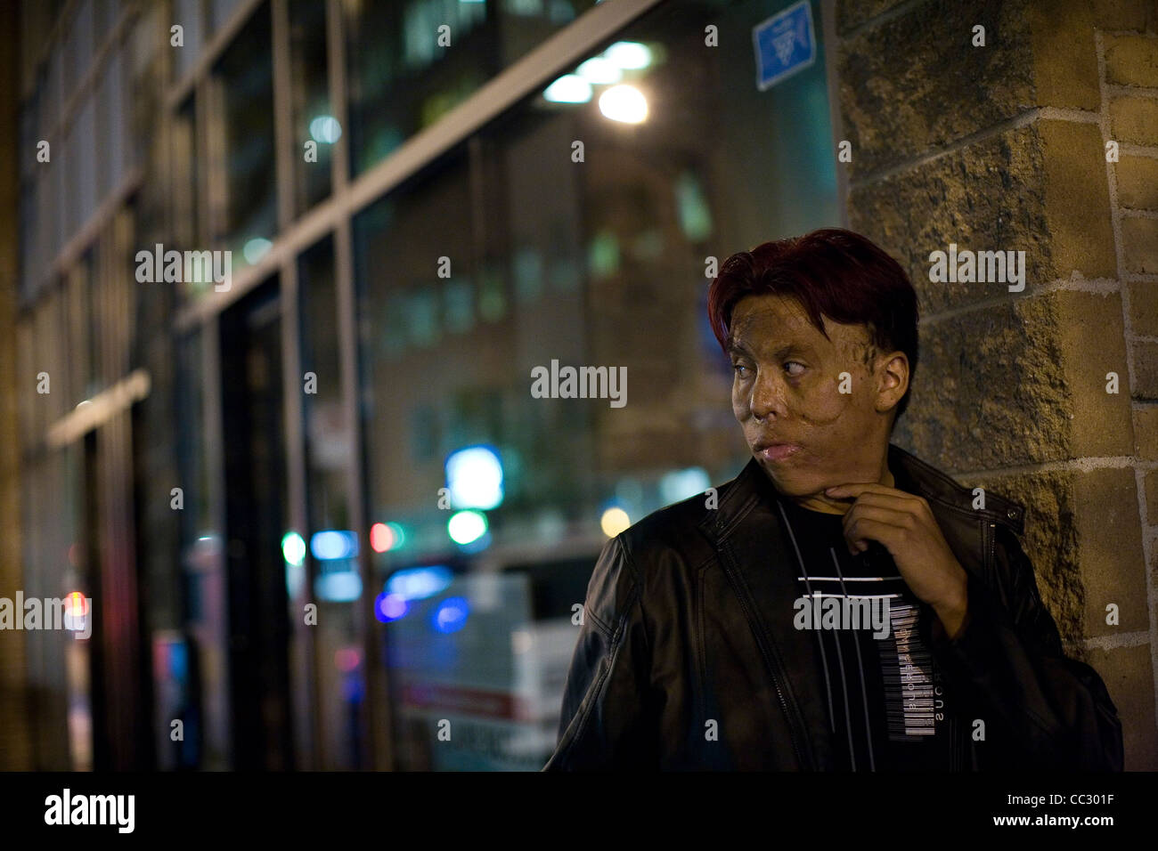 Crack addict on the streets of Montreal, Canada. - Stock Image