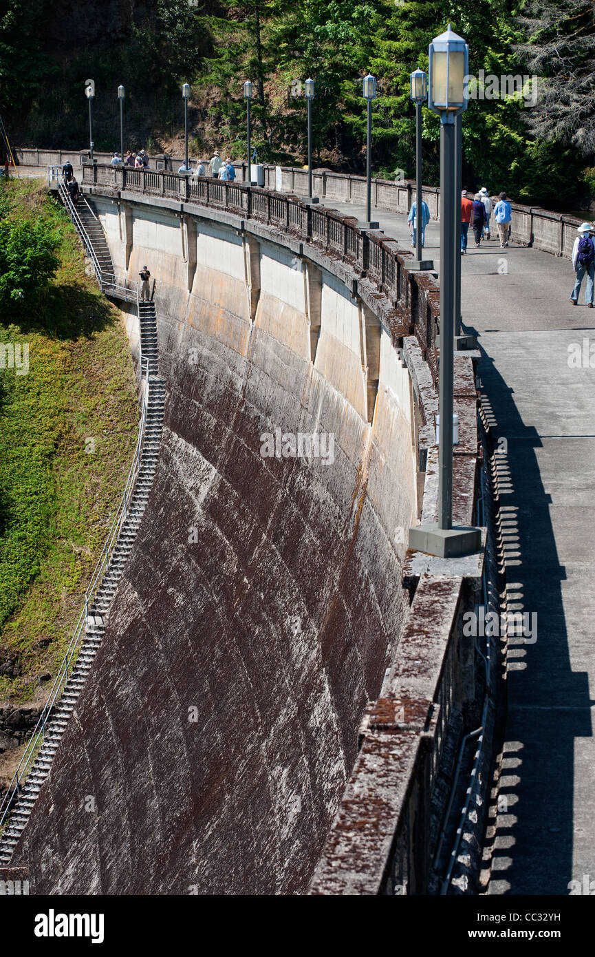 Dam wall of Dam 1, Bull Run Watershed, Oregon - Stock Image