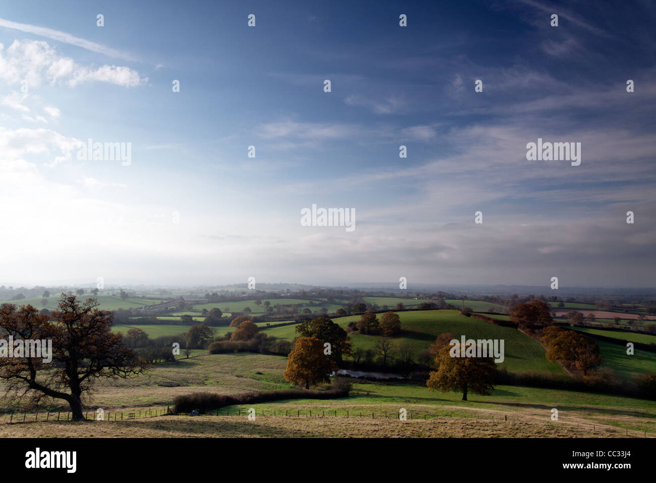 A view of the Blackmore Vale from St. James's Common, near Shaftesbury in Dorset, England. - Stock Image