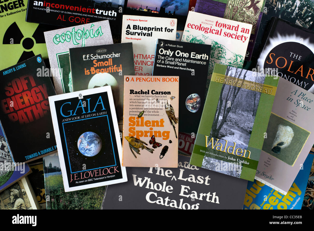 A selection of books on environmental issues, including some historic titles that have influenced the green movement. - Stock Image