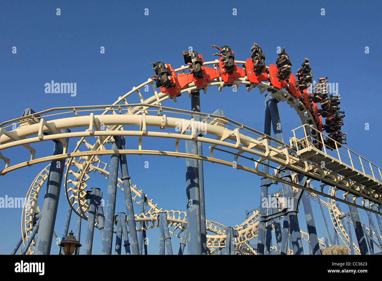 Roller coaster loop in Luna Park, Tel Aviv. - Stock Image