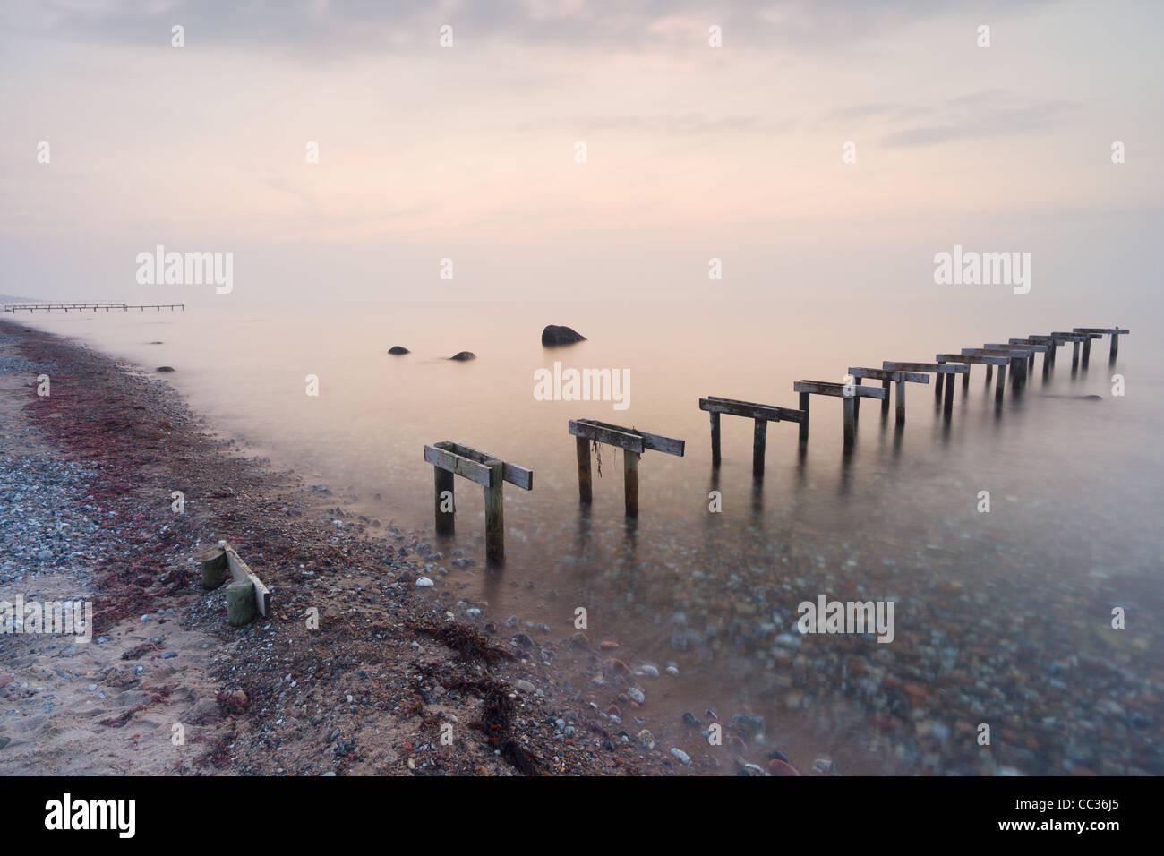 'Badebro' (bathing bridge), or a bathing jetty, on Smidstrup Strand near Gilleleje, North Zealand, Denmark. - Stock Image