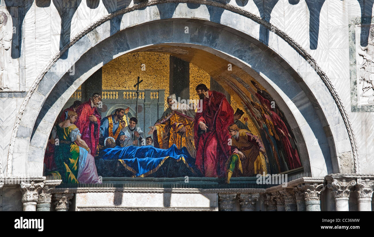 View of mural fresco on the Basilica di San Marco, Venice, Italy ...
