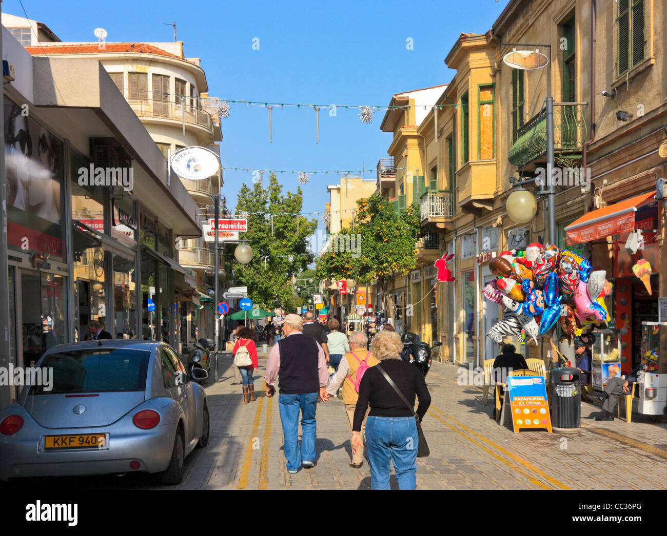 Shopping and Sightseeing in the Old Town of Nicosia, Cyprus - Stock Image