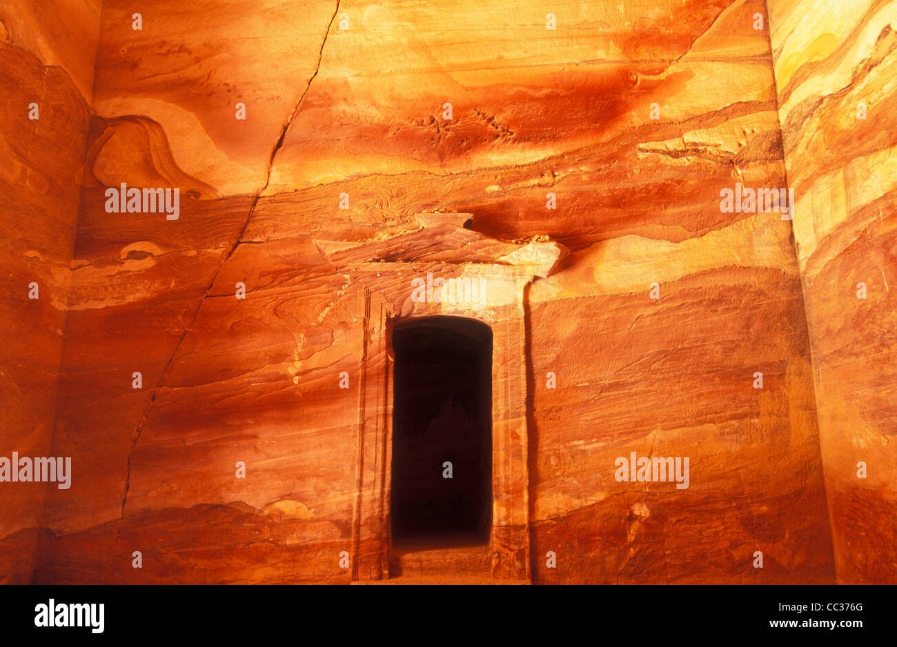 Inside walls of the The Treasury or Al Khazneh in Petra Jordan Middle east - Stock Image