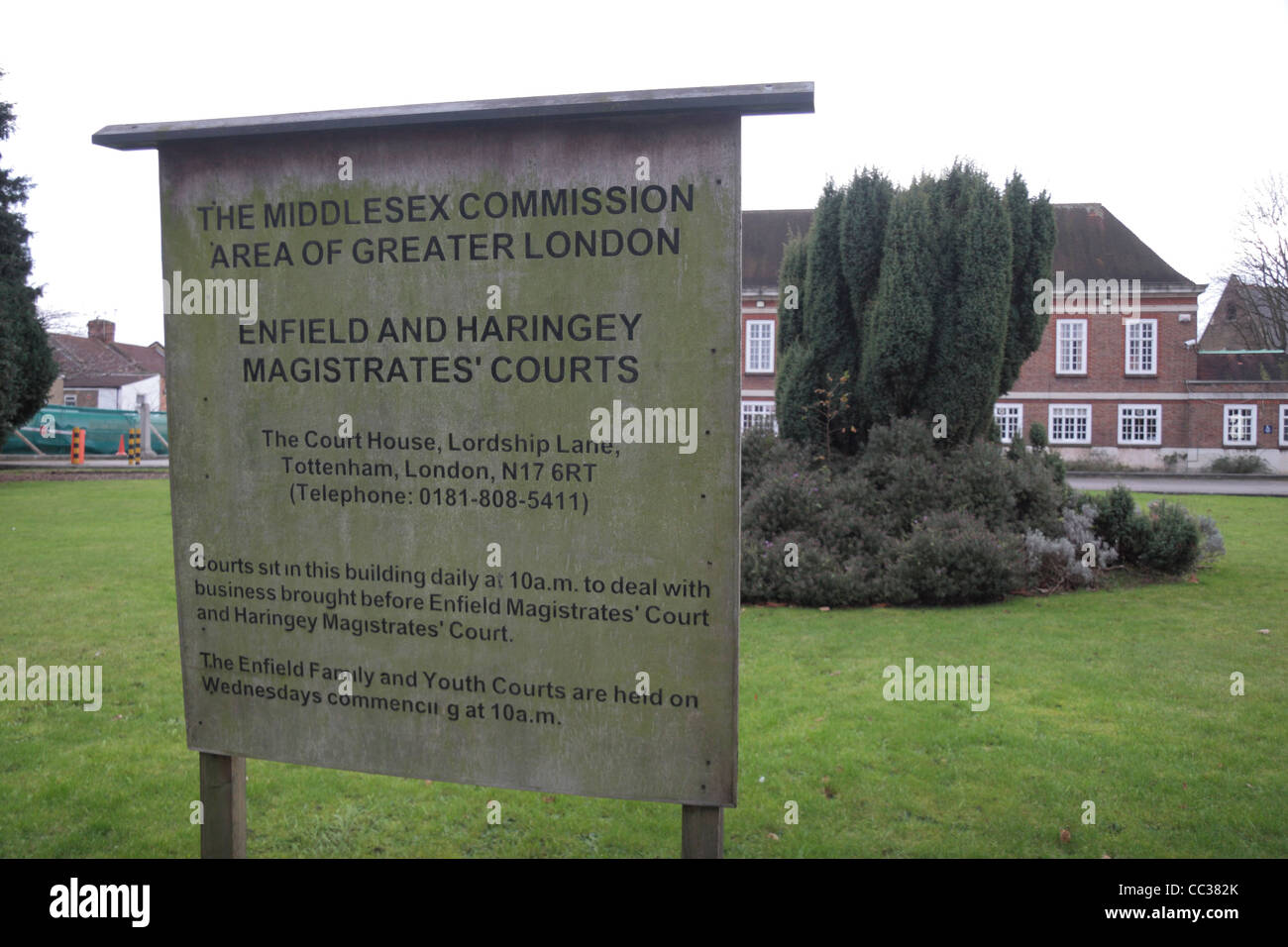 Sign outside Enfield and Haringey Magistrates' Courts in North London, UK. - Stock Image
