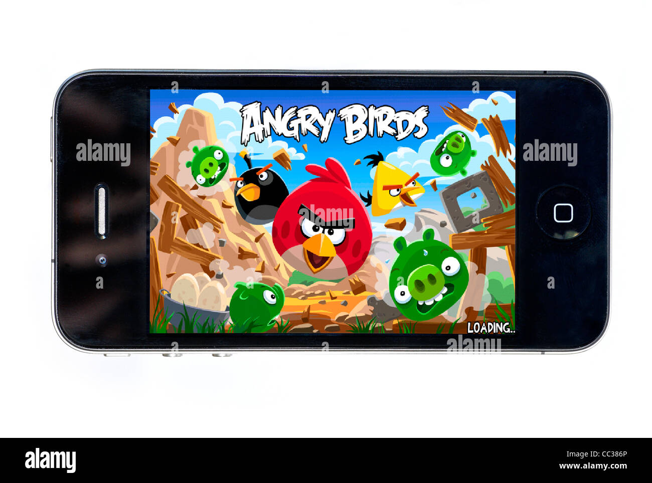 The hugely popular Angry Birds game on an Apple iPhone 4 - Stock Image