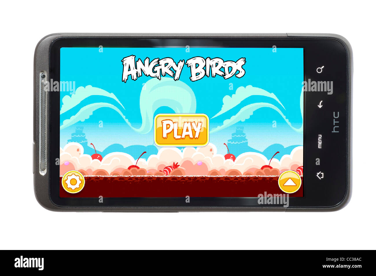 The hugely popular Angry Birds game on an HTC smartphone - Stock Image