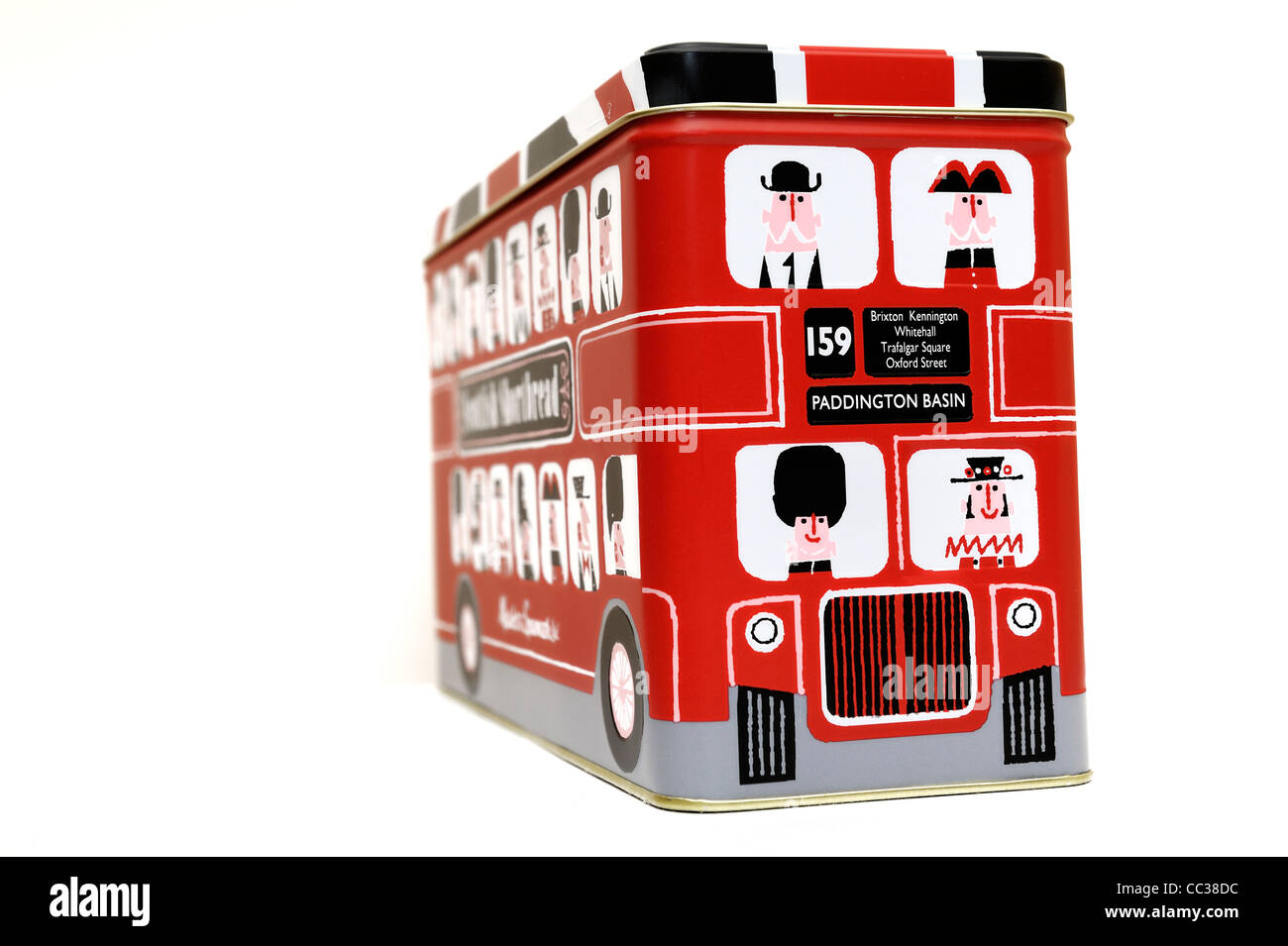 tin of marks and spencers scottish shortbread in the format of a red london bus england uk - Stock Image