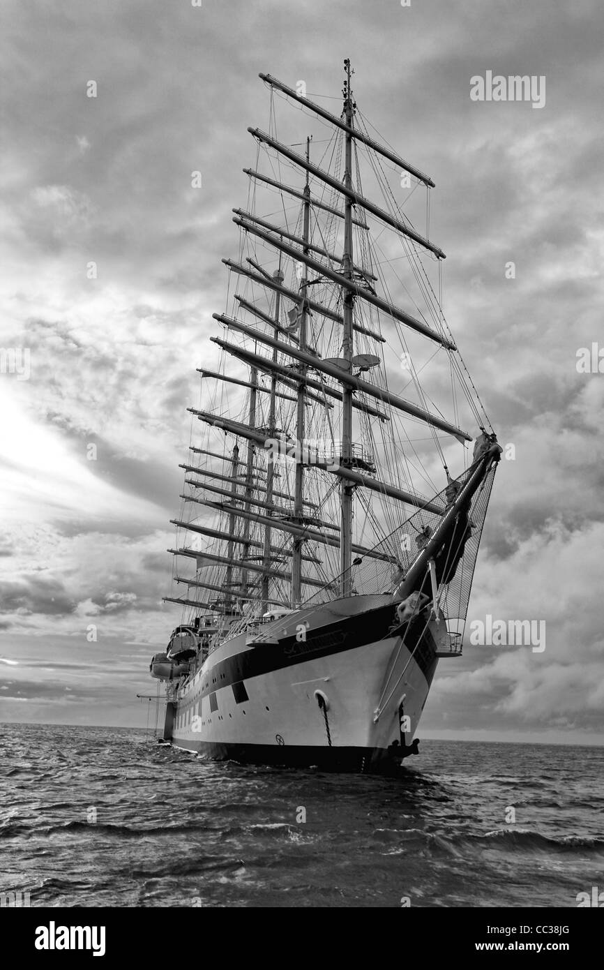 Royal Clipper' square-rigger anchored off Dominica in the Eastern Caribbean  in Black & White - Stock Image