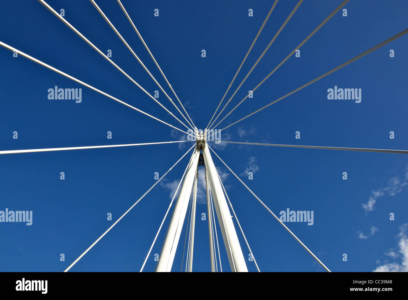 Detail of the Golden Jubilee Bridge over The Thames in London - Stock Image