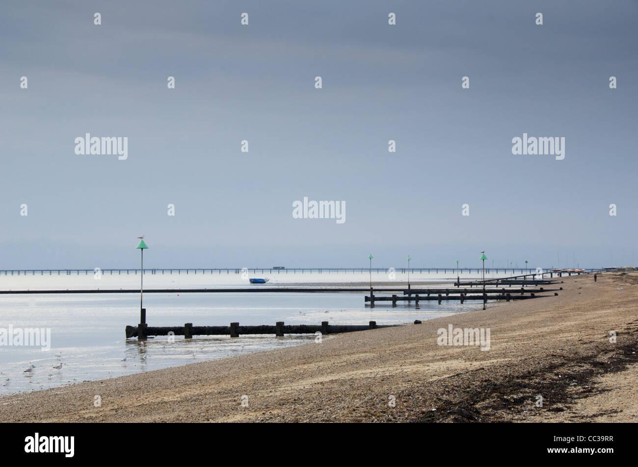 Groynes on the beach at Shoeburyness, Southend-on-Sea - Stock Image