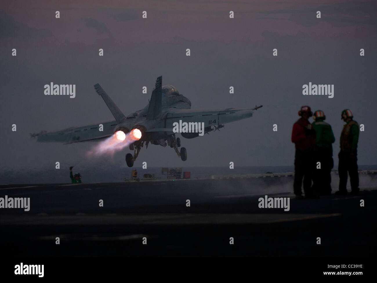 A F/A-18F Super Hornet launches from the flight deck of the Nimitz-class aircraft carrier USS Carl Vinson. Stock Photo