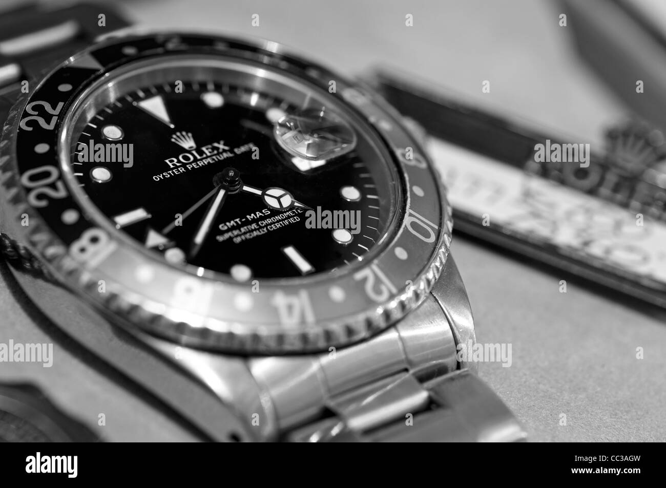 Rolex GMT Master chronograph model 16700 circa.1990 with Pepsi dial. - Stock Image