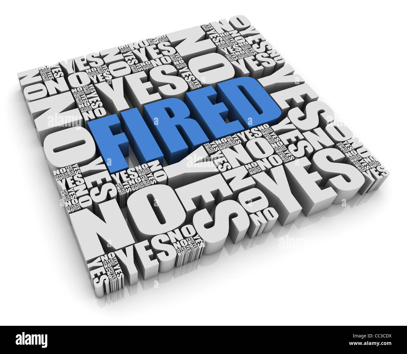'FIRED' 3D text surrounded by calendar dates. Part of a series. - Stock Image