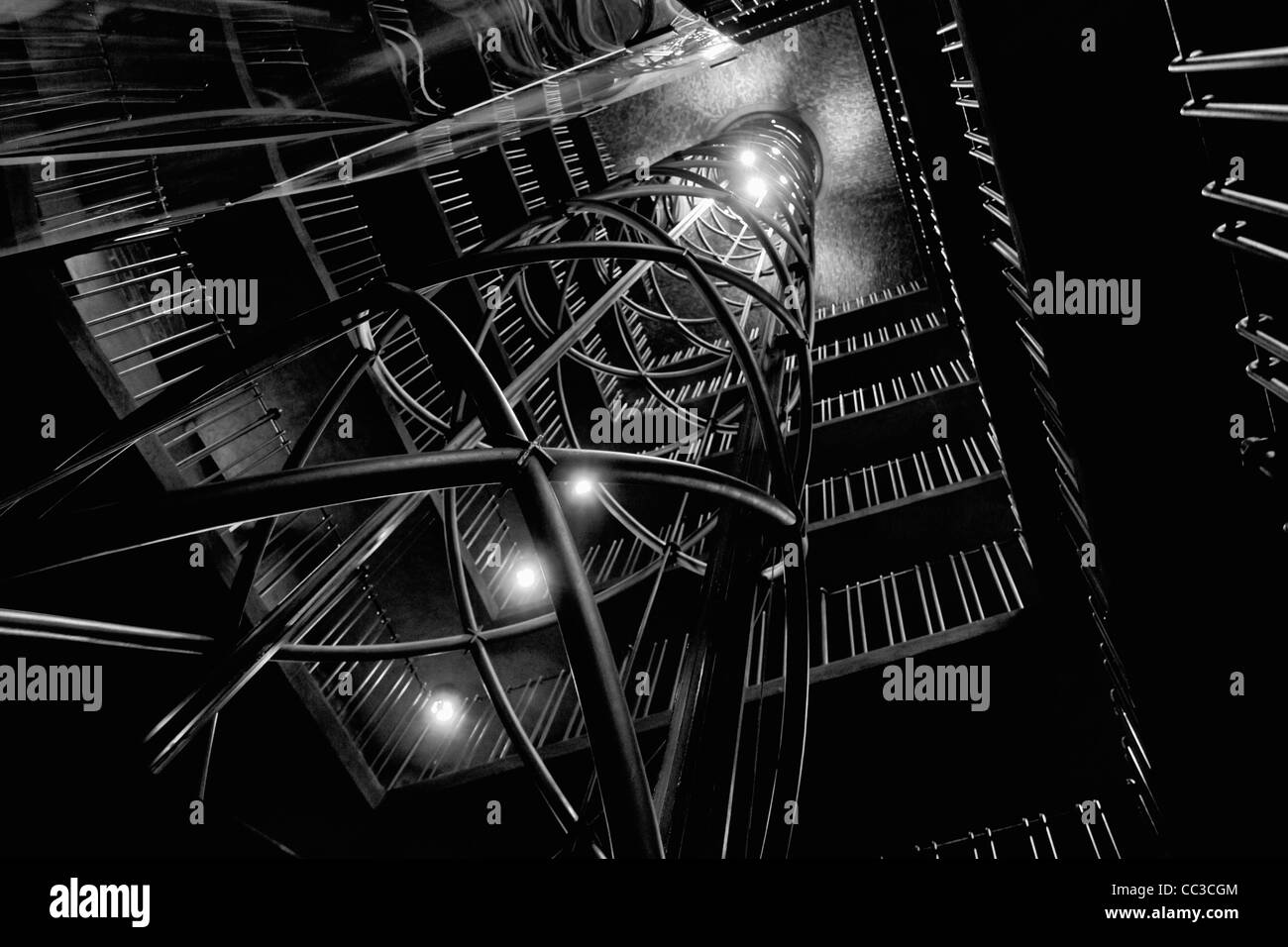 Lift in Old Town Hall Tower, Prague, Czech Republic - Stock Image