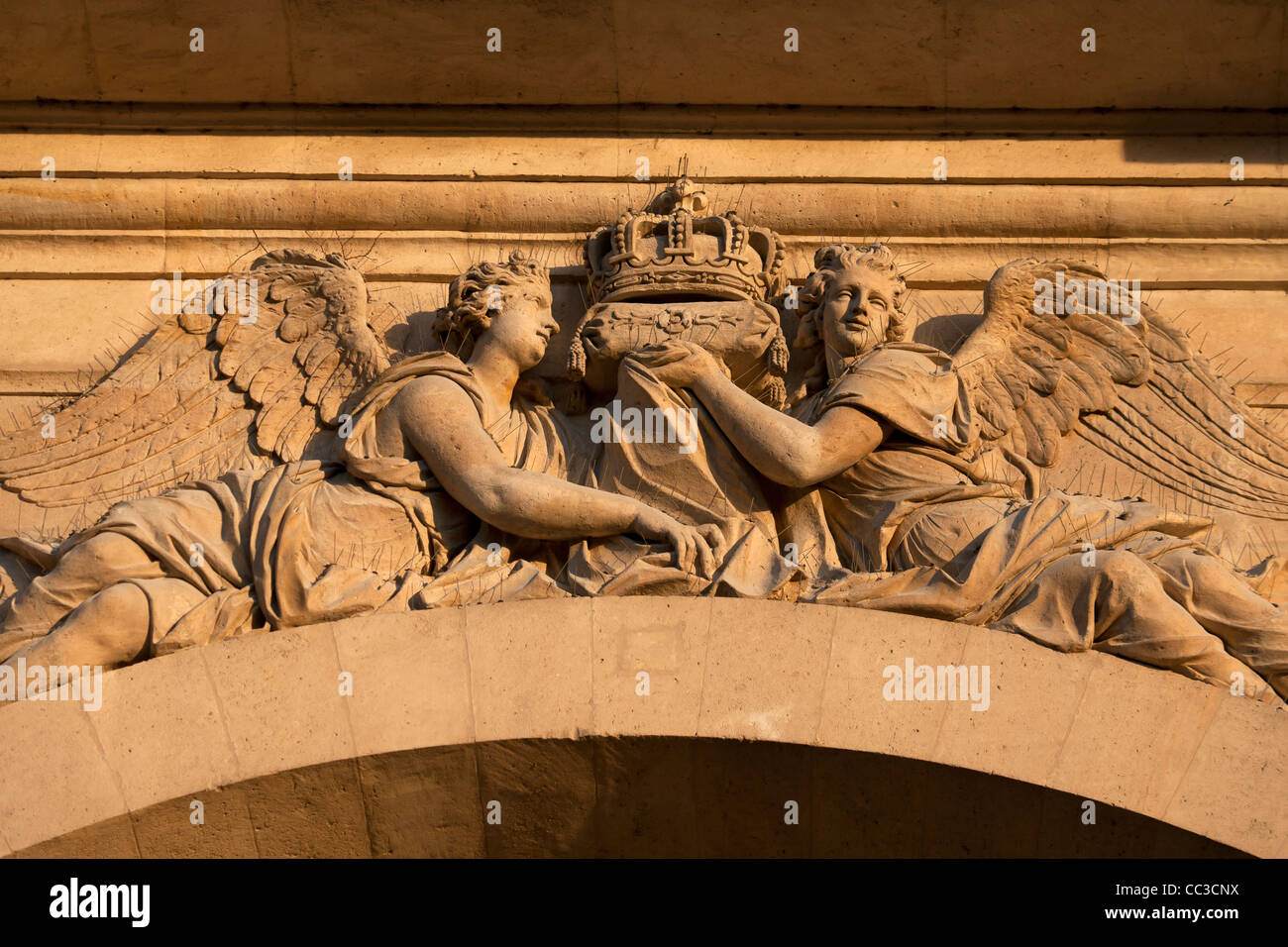 Relief sculpture on the Dome Church at Les Invalides, Paris, France - Stock Image