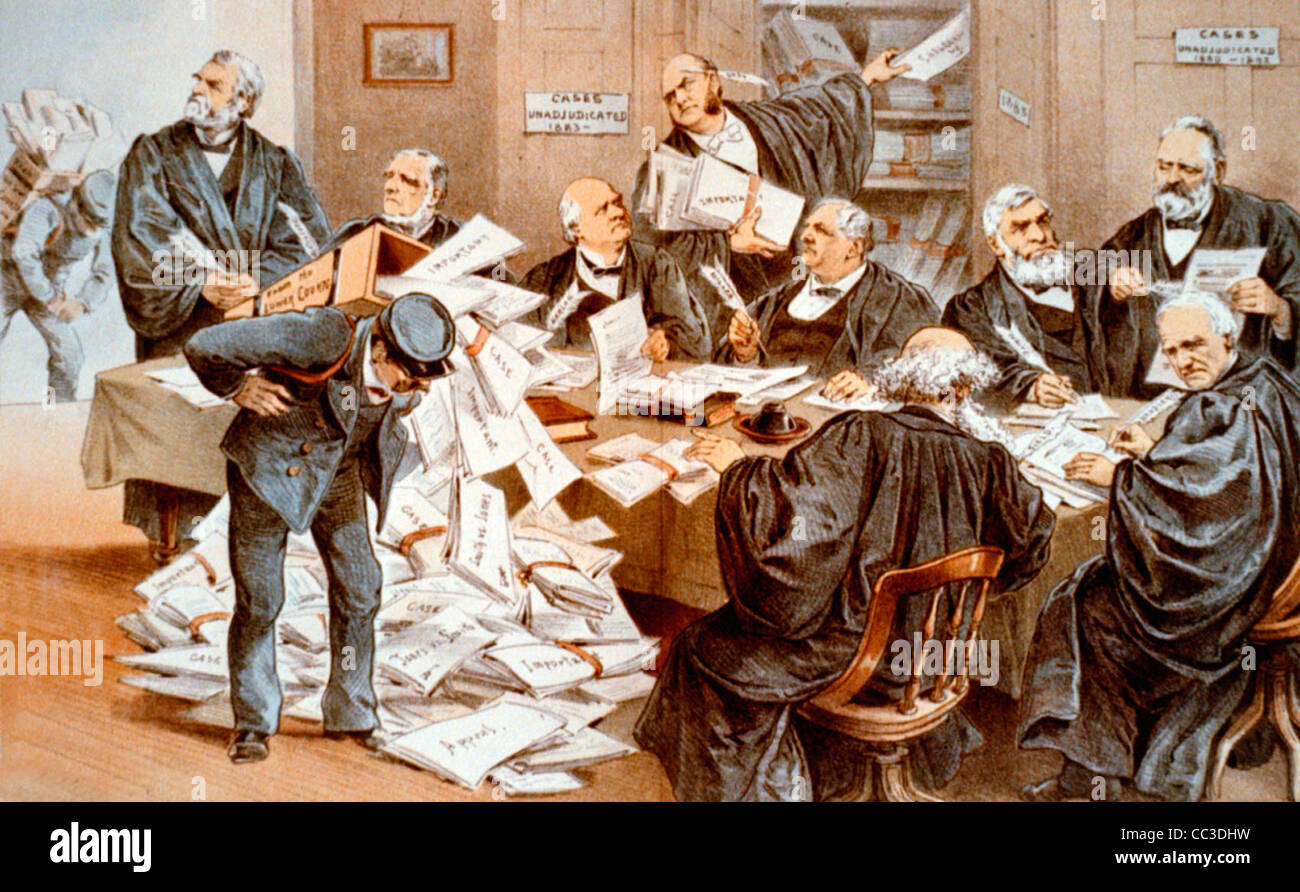 Our overworked Supreme Court, USA, circa 1885 - Stock Image
