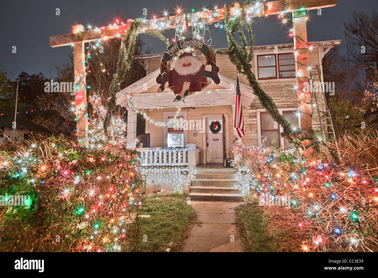 Christmas Lights In The Austin Texas 37th Street District Stock Photo Alamy