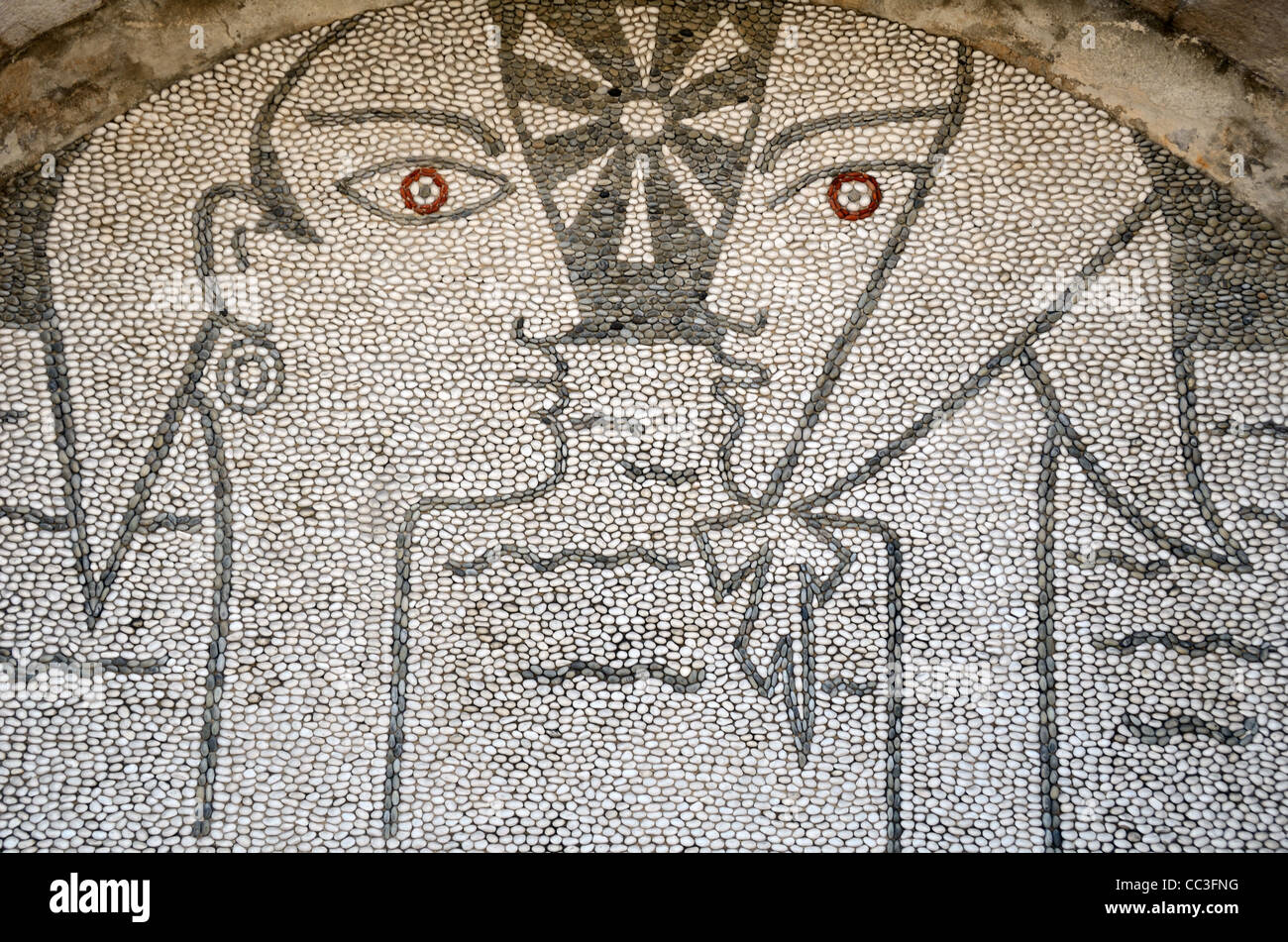 Wall Mosaic or Pebble Mosaic of Young Lovers Based on Artwork by Jean Cocteau, Jean Cocteau Museum, Menton, France - Stock Image