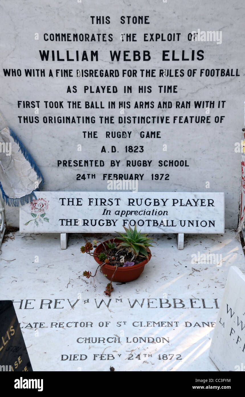 Commemorative Plaques on the Grave or Tomb of Reverend William Webb Ellis, The First Rugby Player, Old Cemetery, - Stock Image