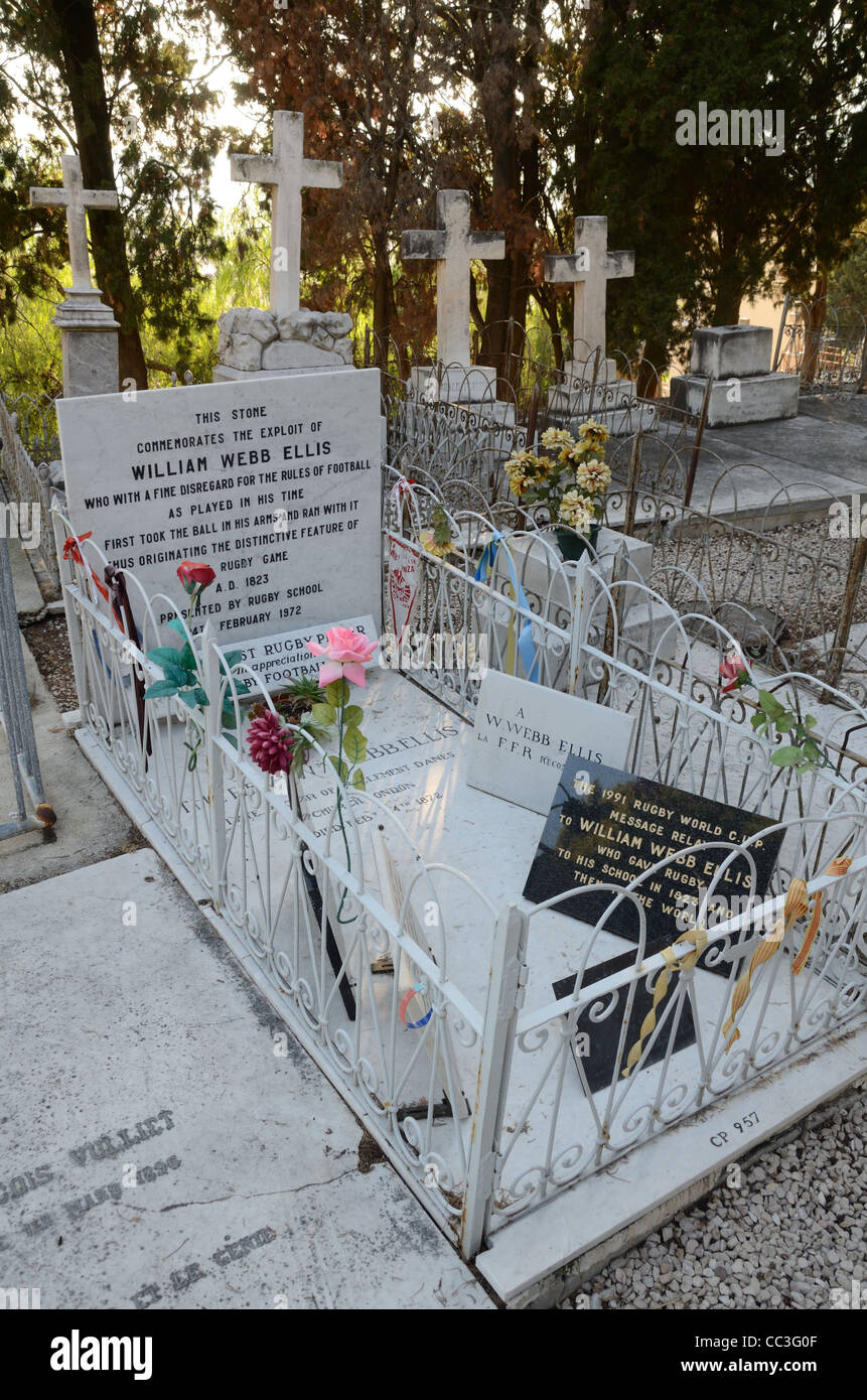 Grave or Tomb of Reverend William Webb Ellis, the World's First Rugby Player, Old Cemetery, Menton, France - Stock Image